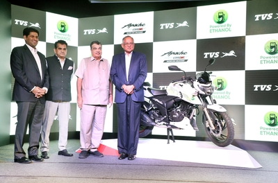 TVS Motor launches India's first Ethanol based motorcycle, TVS Apache RTR 200 Fi E100