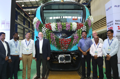 Alstom hits a century with the 100th train set rolling out of its Sricity facility