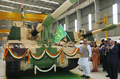 Raksha Mantri Rajnath Singh flags-off 51st K9 VAJRA-T Gun from L&T's armoured system complex