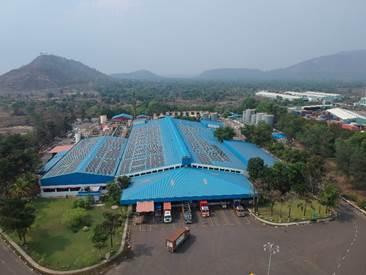 Solar panels in operation at the Taloja plant in Maharashtra
