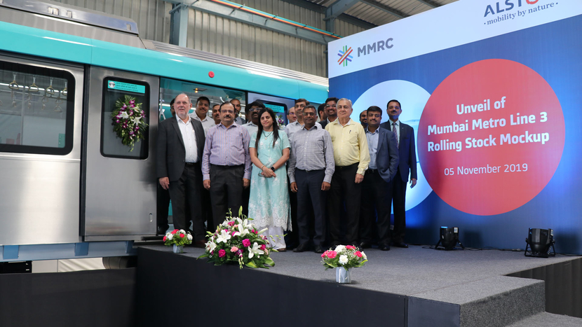 Alain Spohr, Managing Director of Alstom India and South Asia  and Ashwini Bhide, Managing Director of MMRCL with other dignitaries