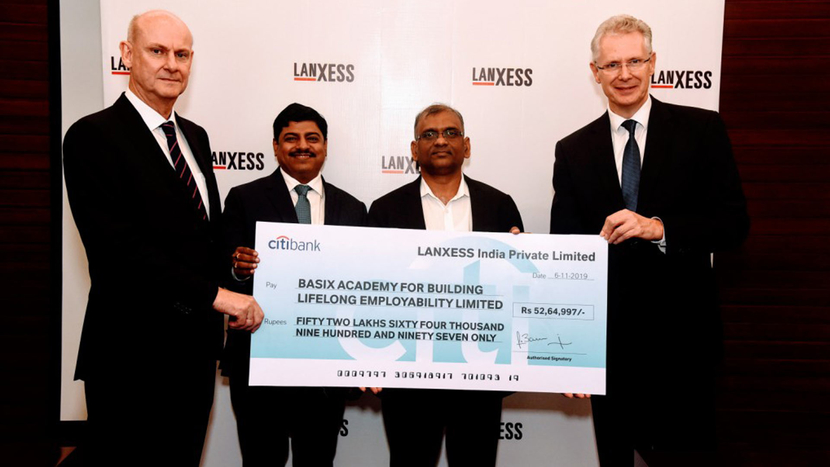 LANXESS, Lanxess India, Thane, B ABLE, BASIX Academy for Building Lifelong Employability Limited, BASIX, LANXESS AG Board of Management, Dr. Rainier van Roessel, Dr. Anno Borkowsky, Neelanjan Banerjee, D Sattaiah