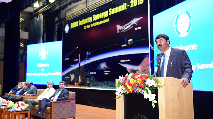 The Secretary, Department of Defence R&D and Chairman, DRDO, Dr. G. Satheesh Reddy addressing at the DRDO Industry Synergy Summit 2019